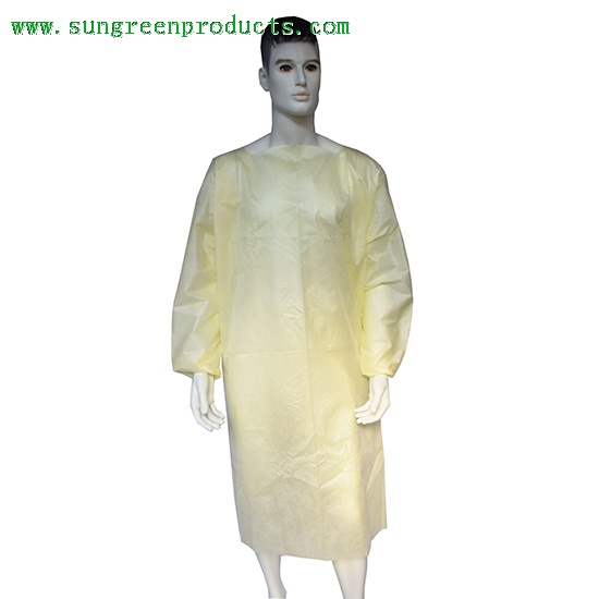 Die cut yellow nonwoven gown with elastic cuffs