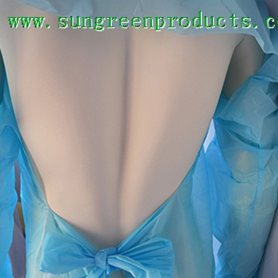 Disposable CPE gown with knitted cuffs